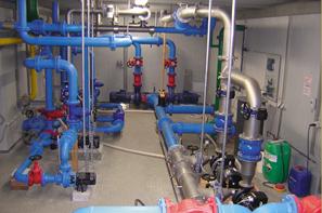 Bild Wasserleitungen im Wasserwerk Eichbach
