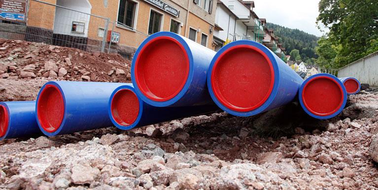 Gasleitungen auf der Baustelle