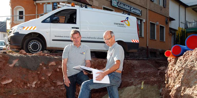Mitarbeiter auf der Baustelle