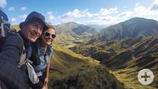 Mit dem Rucksack unterwegs: Sabine und Uli während ihrer Weltreise in Neuseeland.