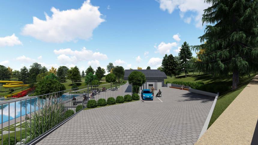 Foto Blick von der Straße zum neuen Freibad